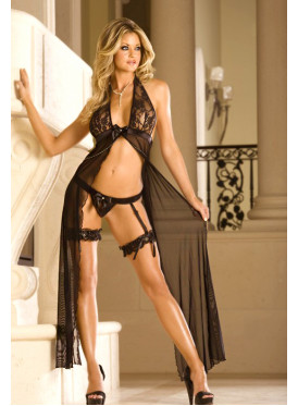 Soft chiffon black nightshirt decorated with an attractive view