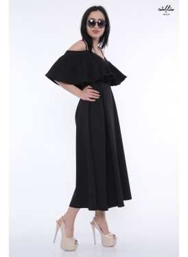 A very elegant black midi dress with a butterfly ,naked shoulders