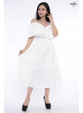 A very elegant white midi dress with a butterfly cut naked shoulders