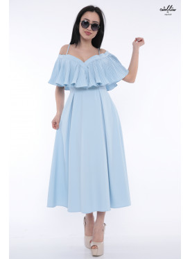 Cute sky dress in style with a butterfly  naked shoulders