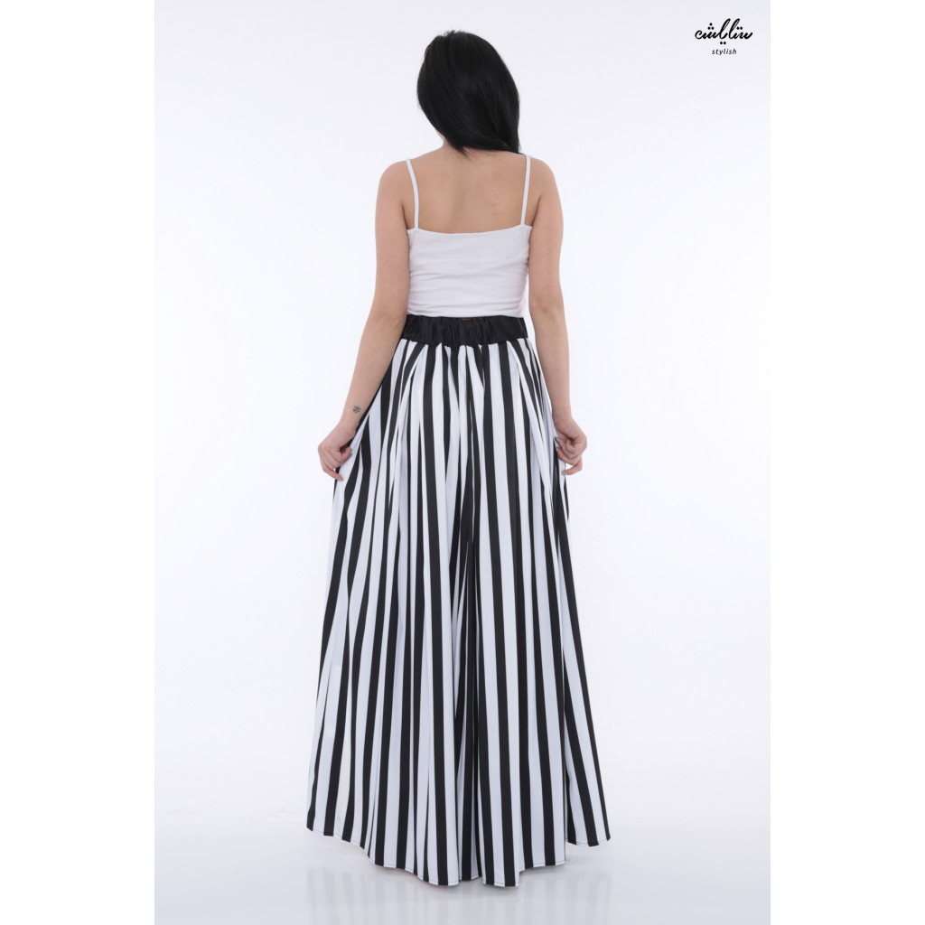 Wide striped maxi skirt with Mickey Mouse Crisp soft print