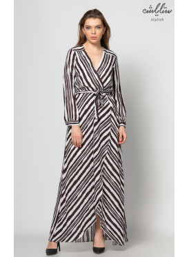 Long sleeve maxi dress with white and black crisp soft rewinding