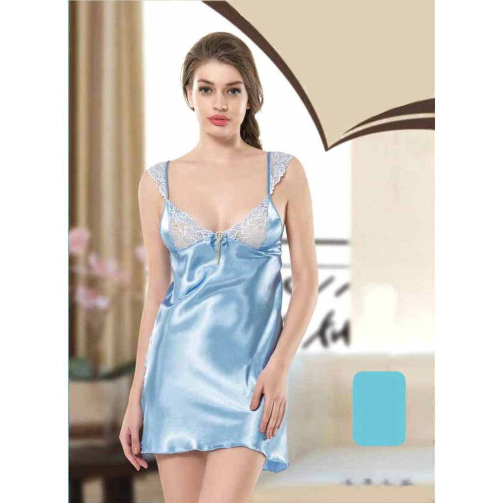 A short, silky, soft satin nightshirt decorated with attractive views