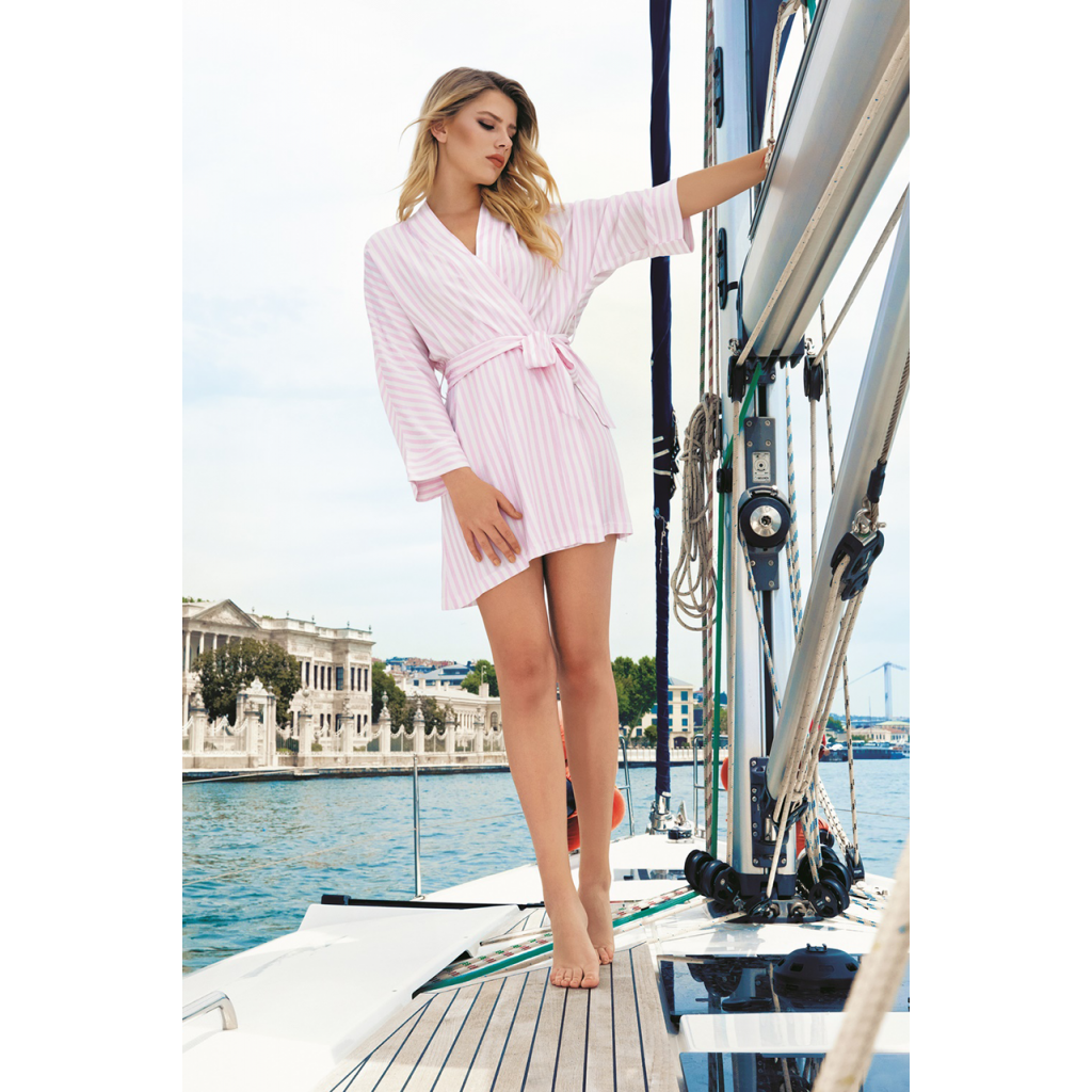 Women's robe soft wrap baby pink, long sleeve, waist strap with striped design, elegant and comfortable
