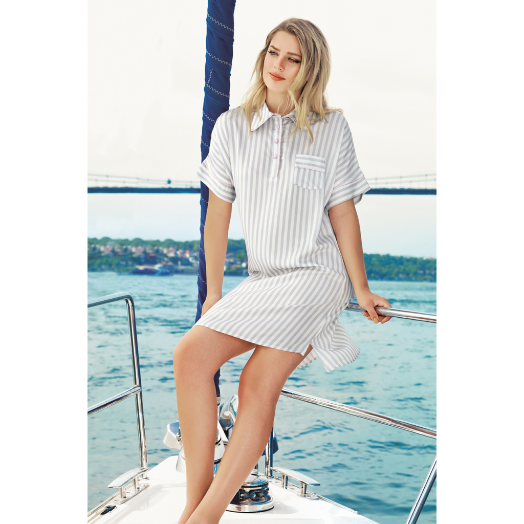 All-feminine, soft, cold Home dress and grey-striped design for a comfortable feel