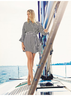 Women's black and white striped smooth wrap, long sleeve, waist strap, sleek and comfortable