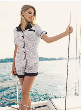 White and Navy short pajama set with soft and comfortable severity