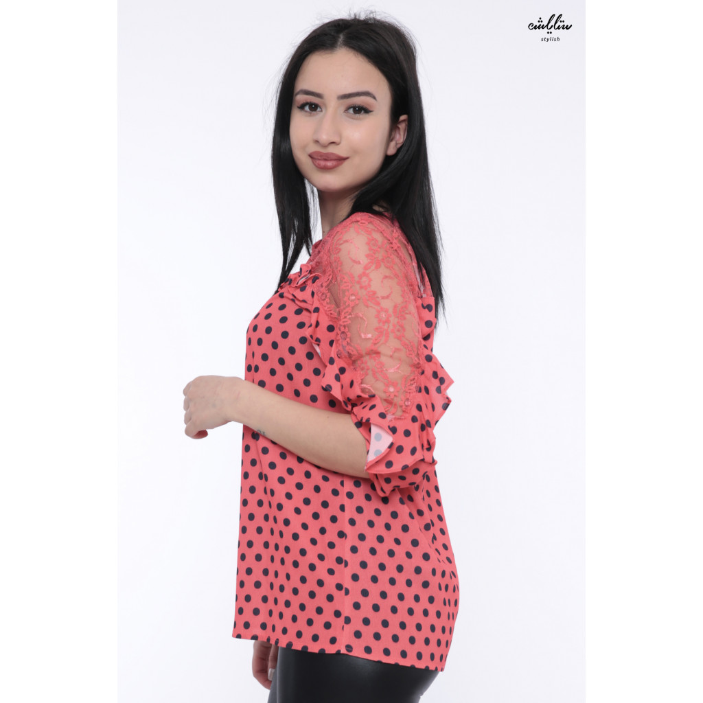 Soft red polka dots design with a touch of elegant crisp lace