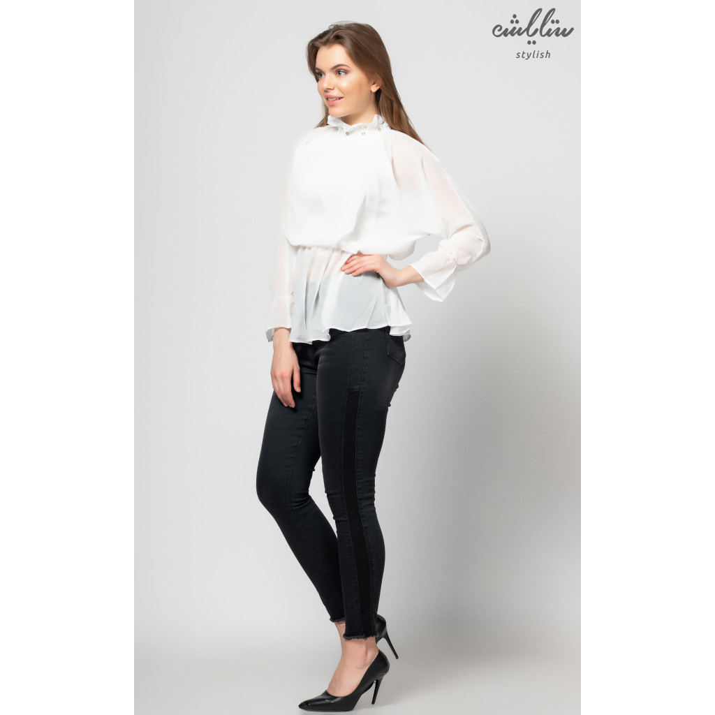Soft white blouse with long collar to give an attractive touch