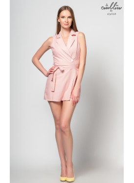 Jumpsuit pink with a wrap and strap around the waist in a very feminine fashion
