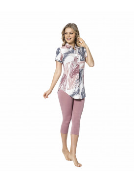 All beauty set with elegant blouse and pink lkonz trousers in harmonious colors