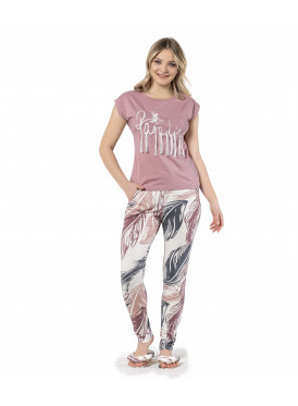 Pajama is all soft in a beautiful blouse model and trousers in the leaves crisp attractive
