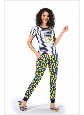 Summer pajama in a striped blouse with nice prints and long trousers that give a great look