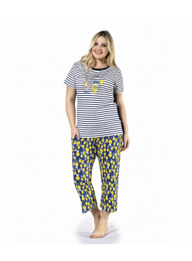 Soft pajama with striped blouse model and trousers with nice prints and attractive summer crisp