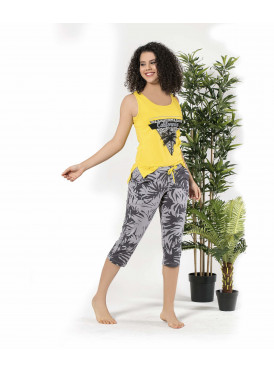 Elegant set in black-and-yellow color, crisp and soft summer pants