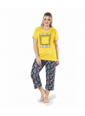 Attractive yellow pajamas with very soft, black-coloured trousers