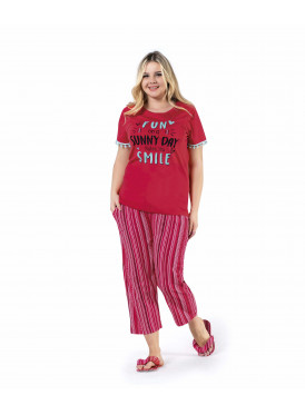 Red rebound in these chic pajamas with striped pants for a comfortable home feel