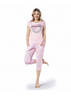 Cute pink pajama with soft crisp striped trousers