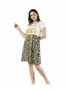 Very soft short dress with beautiful prints for a refreshing summer view