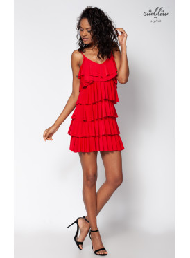 (Dress short layered Red soft (Rubber