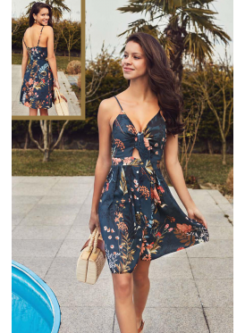 Elegant Navy dress with a design for the most beautiful views