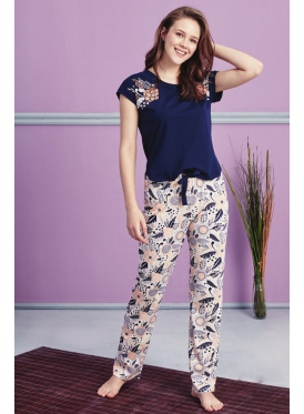 Soft pajama with navy blouse and nice prints crisp cute pants
