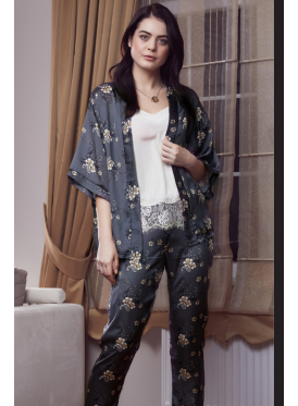 A luxurious three-piece dark grey satin-coloured pajama set with fine prints and prints