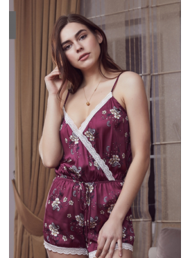 Elegant burgundy satin gown embellished with a touch of crisp lace all feminine jumpsuit