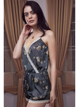 Elegant grey satin gown decorated with a touch of crisp lace all feminine jumpsuit