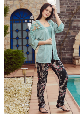 Blue set of three pieces with black trousers with a touch of soft crisp attractive and striking