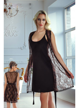 Black short home dress with high-end lace robe with exquisite texture