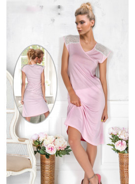 A soft pink nightshirt adorned with a touch of lace to give a luscious look