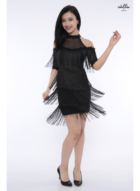 Dress up in style in black nude shoulders with a charming crisp design