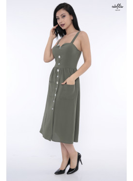 A very elegant midi dress in oil decorated with luscious crisp buttons