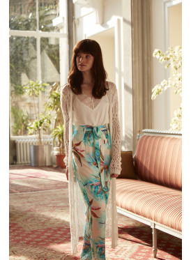 A very luxurious three-piece set with robe, cream, and high-end, cool-cut pants