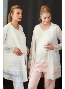 Three-piece set in pink with comfortable texture decorated with a lace for pregnant