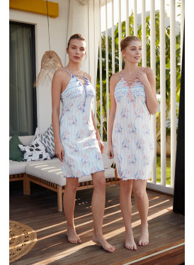 Home dress with soft bare shoulders decorated with trimmings and blue threads on the chest