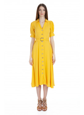 A very elegant, yellow-colored midi dress decorated with  pretty belt