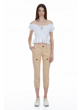 Gorgeous beige and low-elastic midi pants with front pockets