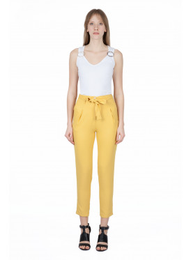 Hi West midi pants in yellow and a soft crisp waist tie