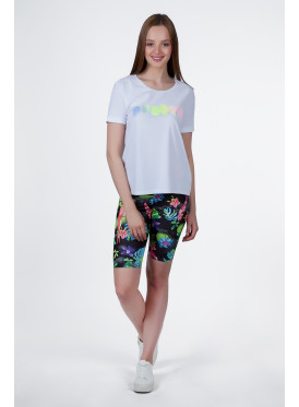 Soft white T-shirt decorated with elegant design
