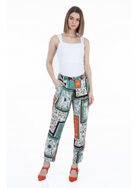 Trousers in harmonious colors with two cracked down waist crisp for elegant summer
