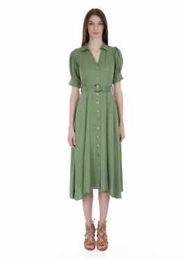 A sleek, oil-colored midi dress decorated with a design that takes you to the 1970s world