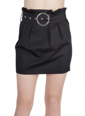 Chic high-west short skirt in black with pleats and elegant strap
