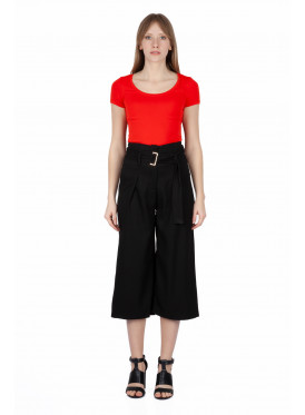 High West midi black trousers with two crumb down waist and crisp summer belt attractive