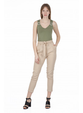 High-West midi powder-coloured trousers with a soft crisp waist tie