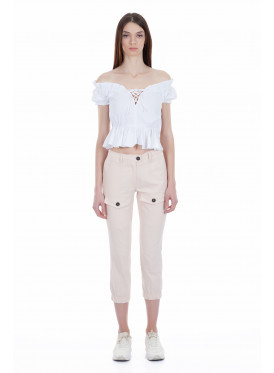 Stylish powder-coloured midi trousers, bottom rubber and front pockets