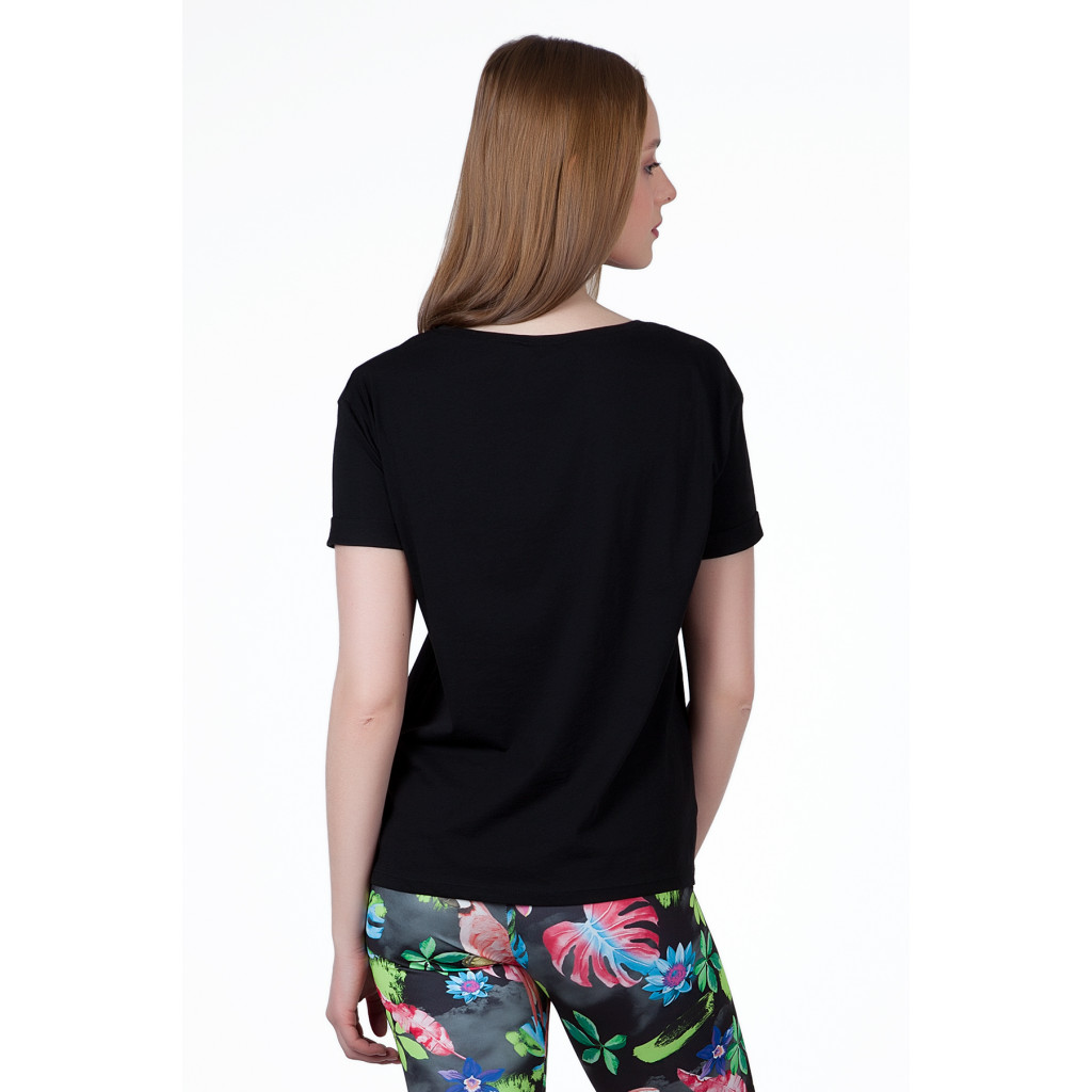 A soft black T-shirt decorated with a stylish, comfortable design