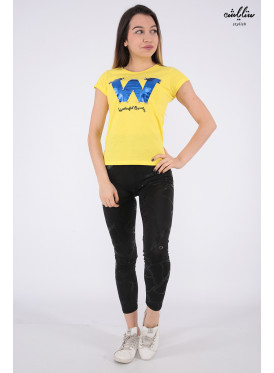 Elegant yellow T-shirts decorated with pearl beads and beautiful writings that make your appearance more elegant