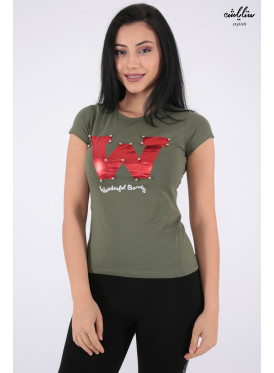 Elegant oil-colored T-shirts decorated with pearl beads and beautiful writings that make your appearance more elegant